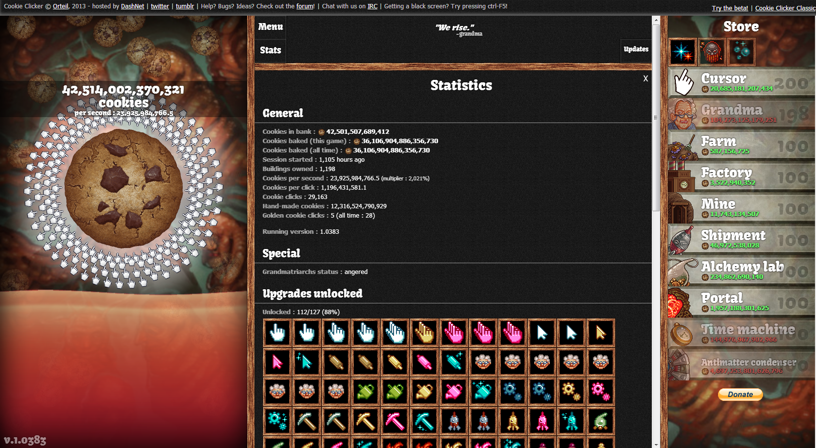 Cookie Clicker game window