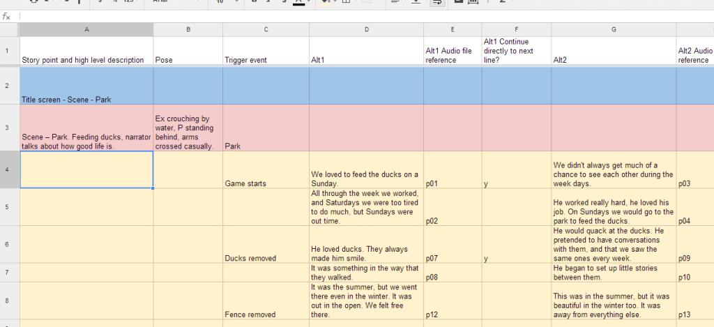 Prototype Dialogue Spreadsheet